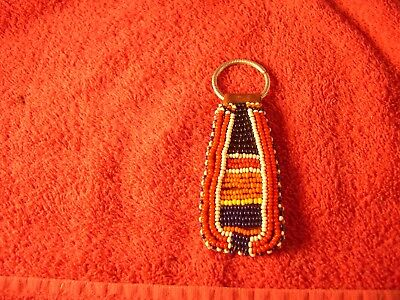 Vintage African Beaded Key Chain W/ Leather & Metal Ring Great Colors Older One