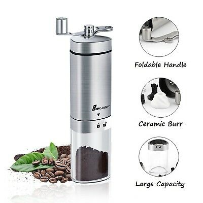 Manual Coffee Grinder, Boknight Coffee Mill with Conical Burr, Brushed Stainl...