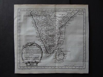 1757 BELLIN  Atlas map  Southern INDIA - SRI LANKA -  Inde - L'Isle de Ceylan
