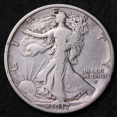 1917-S OBV Walking Liberty Half Dollar CHOICE FINE+/VF FREE SHIPPING E398 RCCM