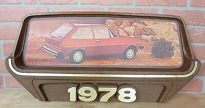 1970s FORD Car Dealership Auto Advertising Sign 1978 FIESTA GHIA 3-Dr gas oil