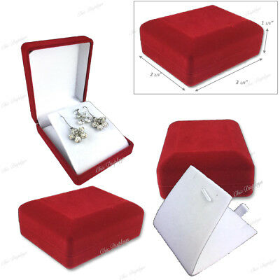 LOT OF 3 Pc LONG EARRING BOXES PENDANT BOXES JEWELRY RED GIFT BOX SHOWCASE DEAL