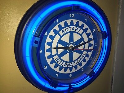 *** Rotary Club Internation Business Blue Neon Wall Clock Sign