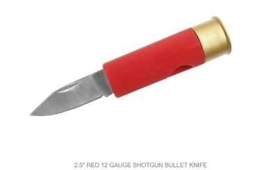 Red Shotgun Shell Folding Knife Pocket Folder 210909