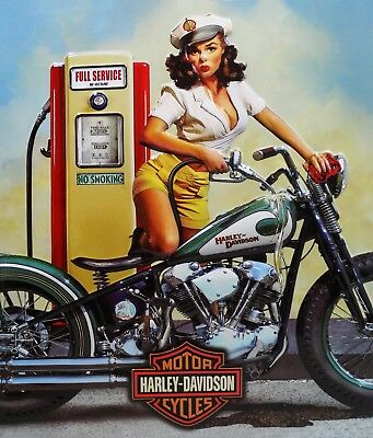 Full Service Fuel Babe Harley Davidson Motorcycle Metal Sign
