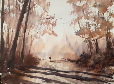 Country Lane Original Art Watercolour Painting by Steven Cronin