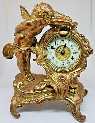 "Antique Stunning Ormolu Ansonia Cupid Cherub Angel Table Clock 6"" X 5.5"" RUNS!"