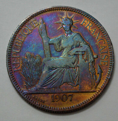 SCARCE 1907-A France Indo-China Piastre de Commerce 27g .900 Silver Coin, Toned!