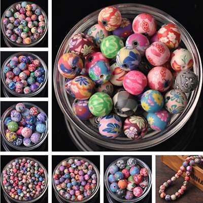 10pcs 6~15mm Random Mixed Color Round Polymer Clay Loose Spacer Beads Charms