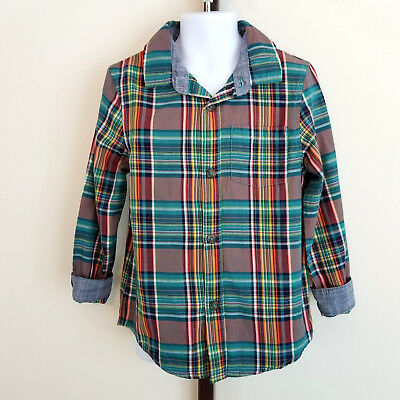 Cat & Jack Target Boys 5T Green Orange Plaid & Chambray Button Front Shirt NWT