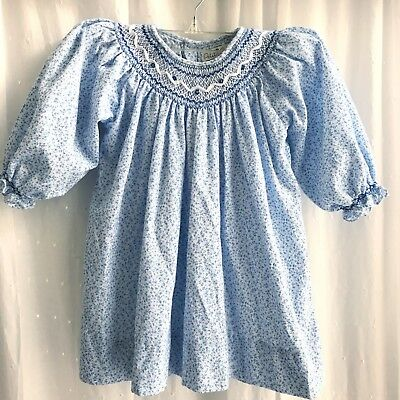 Petit Ami Long Sleeve Smocked Dress Girls Size 12 Month Blue White Floral