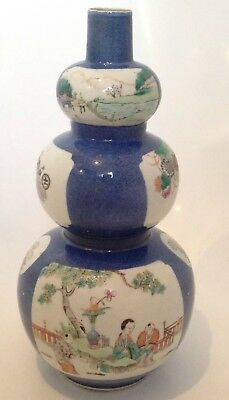 Antique Chinese Porcelain Vase Powder Blue Triple Gourd - Drilled For A Lamp