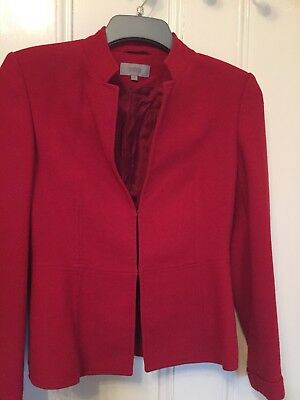 M&S Red Smart Jacket Size 10 (40% New Wool)