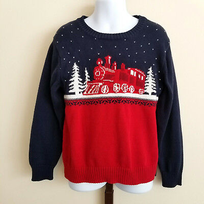 Janie & Jack Boys Size 5 Navy Blue Red Winter Holiday Train Pullover Sweater
