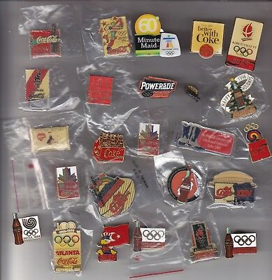 25 Assorted Coca-Cola Pins Olympic, Baseball,   Football Special Events   .