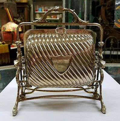 SIGNED: D. & A. EPNS Antique Victorian Folding Biscuit Server Silverplate Box !!