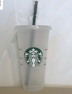 STARBUCKS Frosted Reusable 24 Oz VENTI Clear Cold Cup Tumbler Straw