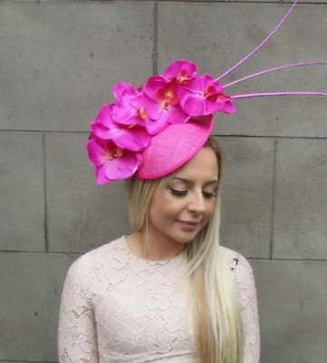 Hot Fuchsia Pink Orchid Feather Flower Saucer Disc Hat Fascinator Races Big 5313