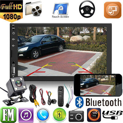 "7"" 2 DIN Car Stereo MP5 MP3 Player USB/TF/Bluetooth Touch Screen FM Radio+Camera"