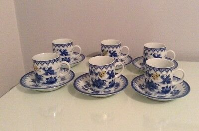 Japanese Hirado Style Cups And Saucers. 12 Pieces. Boys Chasing Butterflies