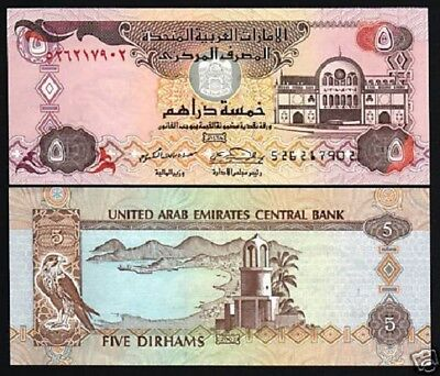 United Arab Emirates 5 Dirhams P26 B 2007 Sparrow Hawk Unc Gulf Gcc 10 Banknote