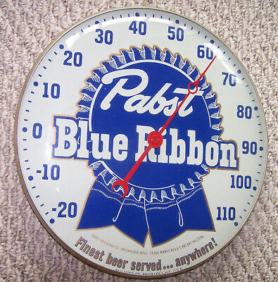 Vintage Pabst Blue Ribbon Round Thermometer By Pam Clock Co 12 Inch Diameter