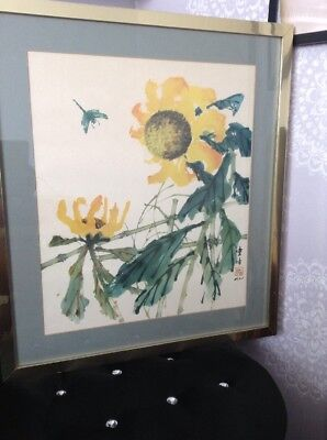 Large Chinese Painting Of Flowers On Fabric. Framed And Mounted. Signed