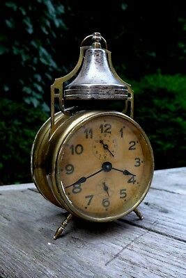 Antique/Vintage German Solid Brass Wind Up Alarm Clock Not Working Home Art 2502