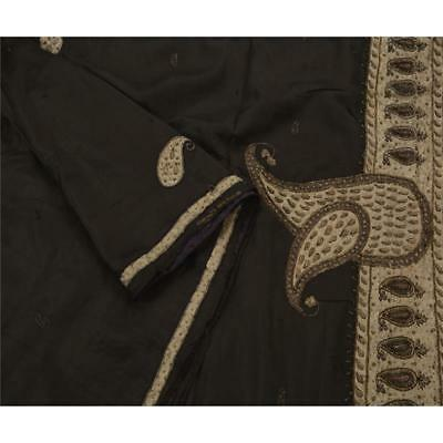 Sanskriti Antique Vintage Black Saree 100% Pure Silk Hand Beaded Fabric Sari