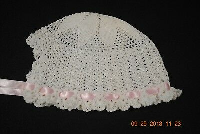 Vintage Crochet Baby Cap Hat Bonnet White with Pink Ribbon Doll