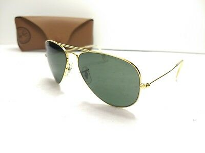 bb1f6fe9c72 Vintage B L Ray Ban Aviator Sunglasses Size 58 14 USA Etched BL Green Lens