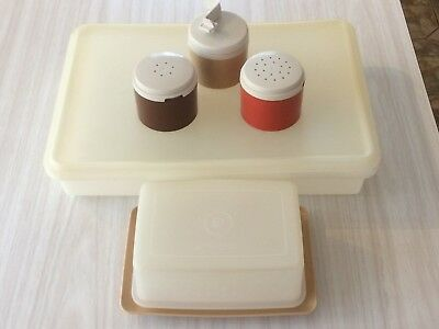 Vintage Tupperware Lot Stacking Cruet Set, Storage Container & Cheese/Butter Box
