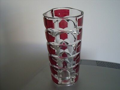 Vintage French Geometric Ruby Red and Clear Vase by J.G Durand 1960s/70s