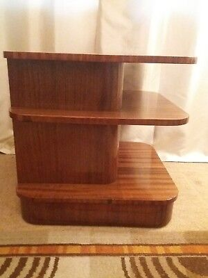 Superb 1938 Art deco walnut and mahogany odeon design display/book table