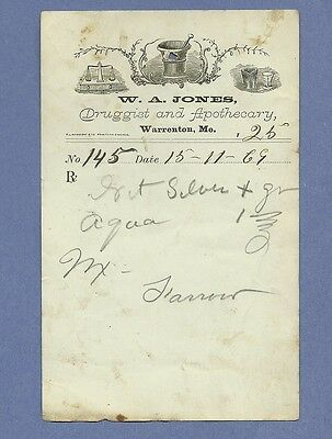 1869 WA Jones Druggist Apothecary Warrenton Missouri Prescription Receipt No 145