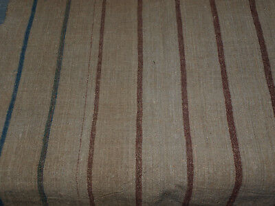 Antique Linen Vintage Grain Sack Flax Handwoven Homespun Fabric with stripes