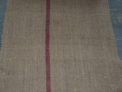 Antique Linen Vintage Unbleached Grain Sack Flax Handwoven Herringbone Fabric