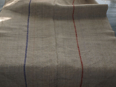 Antique Linen Vintage  Grain Sack Flax Handwoven Homespun Fabric with 2 stripes