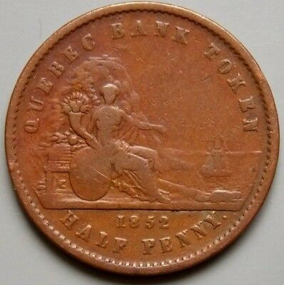 1852 PC-3 Province Of Canada Canadian Un Sous 1/2  Penny Quebec Bank Token