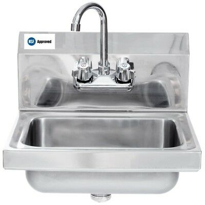 Commercial Stainless Steel Wall Mount Hand Wash Washing Sink 16 x 16 - NSF