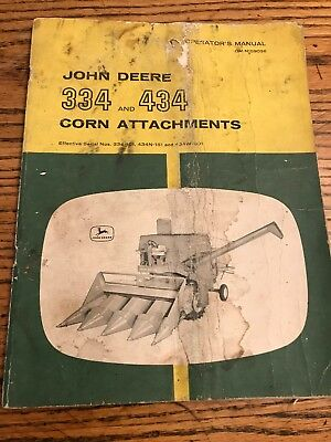 John Deere 334 And 434 Corn Attachments Operator's Manual, 49 Pages, Original