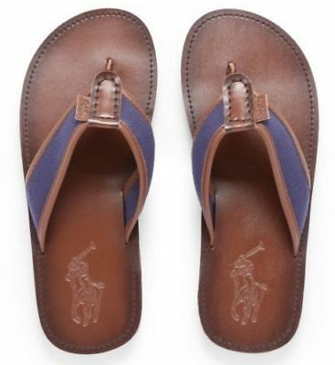 bb61b7f4a52e NWT Polo Ralph Lauren SULLIVAN FLIP FLOPS Leather NAVY BROWN Shoe 0804 MENS