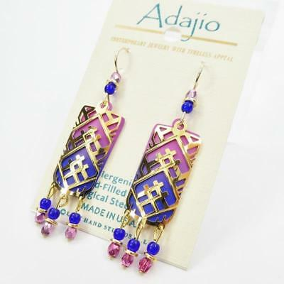 Adajio Earrings Gold Plated Abstract Triangle Filigree over Pink Blue Ombre
