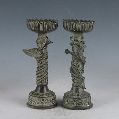 Chinese Rare Bronze Dragon&Phoenix Candlestick  Made During Ming Xuande