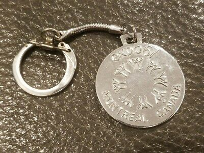 Vintage 1967 Worlds Fair Keychain Expo Montreal Canada Coin Medal