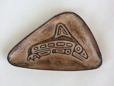 Vintage Signed KILLER WHALE Clay Trinket Dish Handmade B.C. Canada The Quest EUC