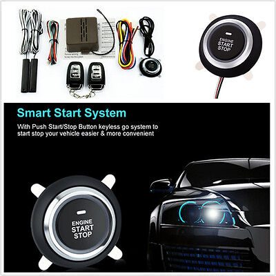 Car Alarm System Passive Keyless Entry Engine Ignition Start Push Button Remote