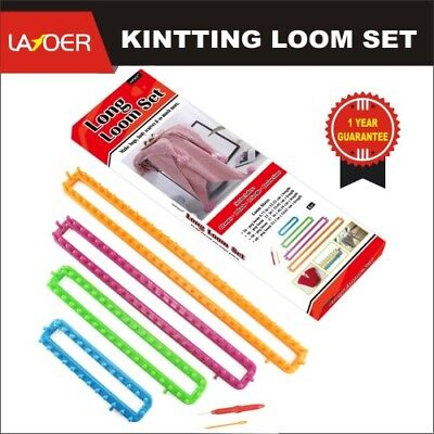 LAYOER Long Knitting Loom Set 4PC with Hook Needle Kit for Yarn Cord Knitter