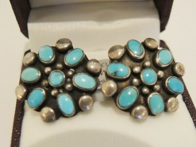 Vintage American Sterling Silver & Turquoise Clip On Earrings
