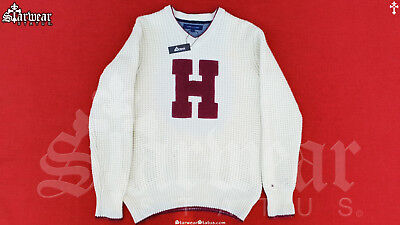 Vtg 90s Tommy Hilfiger Wool Spell Out Logo Varsity College Sweater Ivory Sz 12 L